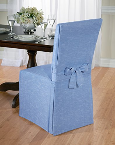 Luxurious Dining Chair Slipcover, Chambray, Basket Weave, Beige, Blue