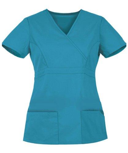 G Med Women's 2 Button Tabs V Neck Half Sleeve Solid Scrub Top