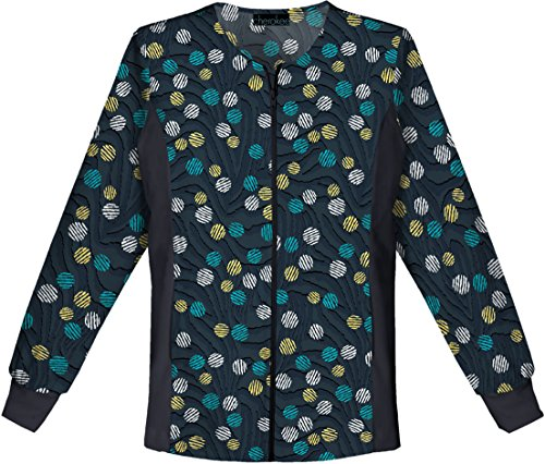 Flexibles by Cherokee Women's Zip Front Flex Dot Print Scrub Jacket X-Large