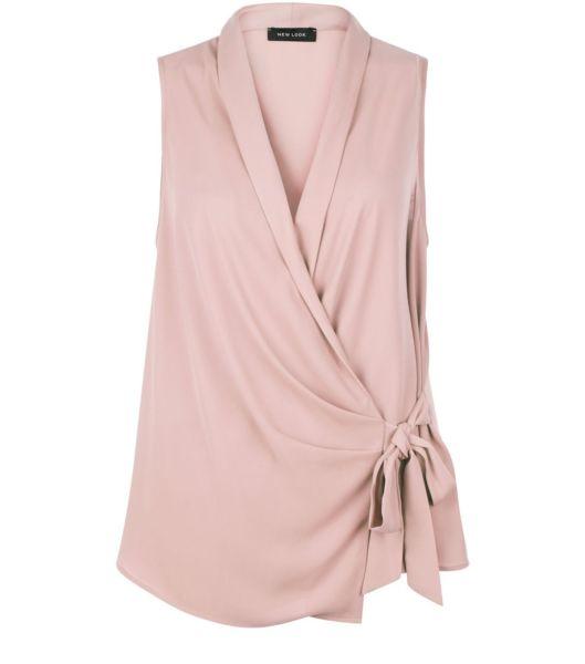 Light Purple Wrap Tie Side Shell Top For Sale.
