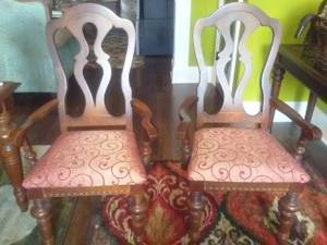 2 Red Side Arm Chairs