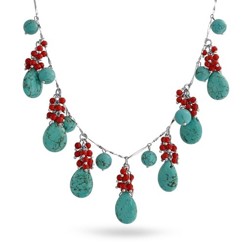 Bling Jewelry Beaded Synthetic Turquoise Synthetic Coral Necklace Rhodium Plated