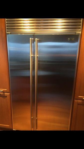 Sub Zero stainless steel refrigerator.