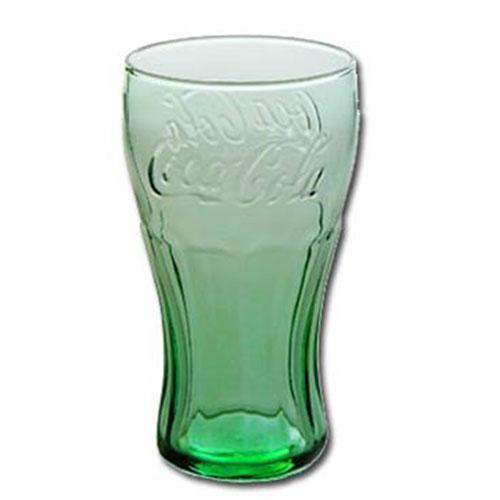 Green Coca-Cola Glasses Contour Juice 6 oz set 12