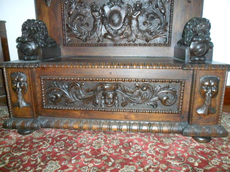 1860 Rare Hand Carved Lion Bench