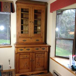 Antique Oak China Hutch Buffet Cabinet (Shelton)