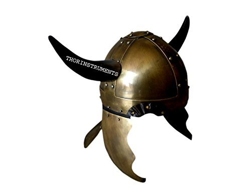 Viking Barbarian Warrior Helmet Medieval Armor with Horns Brass Finish
