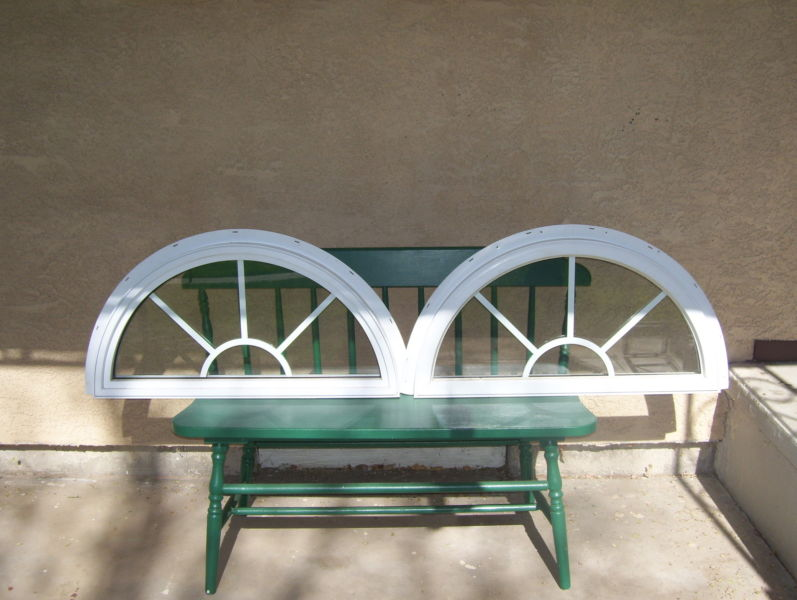Two White Vinyl Arched Windows, Double Paned