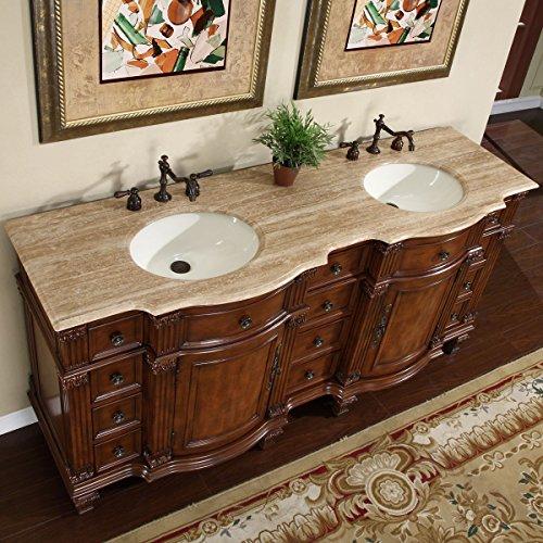 Silkroad Exclusive Travertine Stone Top Double Sink Bathroom Vanity with