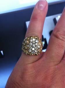 2 Men's 14k Gold Rings - Nugget & Wedding Band