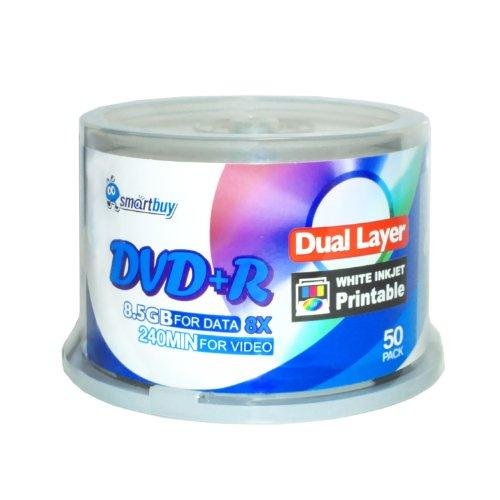 Smartbuy 50-disc 8.5GB/240min 8x DVD+R DL White Inkjet Hub Printable Blank Media