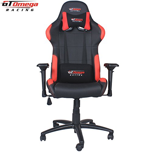 GT Omega PRO Racing Office Chair Black and Red Leather