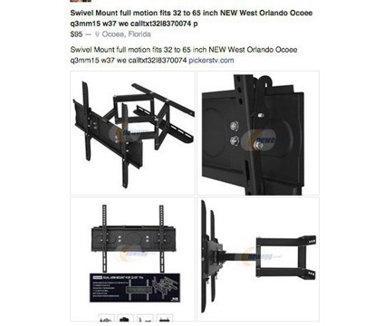 TV Swivel MOUNT motion 32 to 65 in NEW $95 Call32I8379974txt