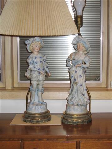 Antique Figurine & Brass lamps & Estate Sale.