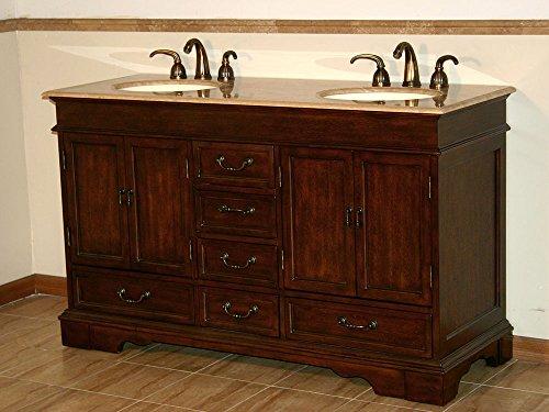 Silkroad Exclusive Travertine Stone Double Sink Bathroom Vanity with Furniture