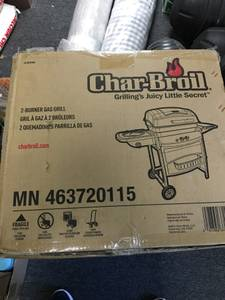Brand new unopened box char-broil 2 burner gas grill w/ side burner