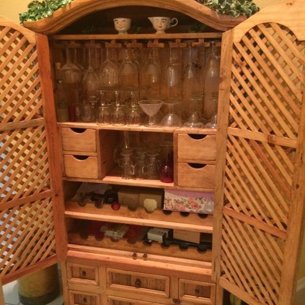 Beautiful Rustic Pine Armoire / Bar / Cabinet