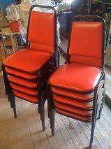 Lot Of 5 Used Red Stackable Chairs