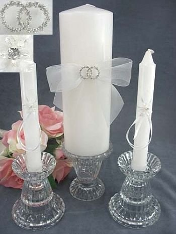 Rhinestone Rings Wedding Unity Candle Set: Ring Color: Silver - Candle Color: