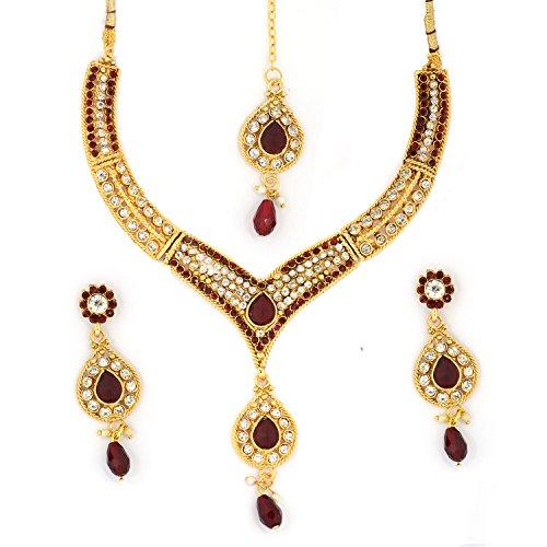 Bollywood Designer Ethinic Indian Bridal Stone Polki Necklace Set with Maang