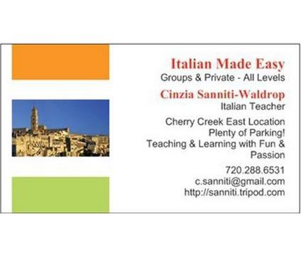 Cinzia's Italian Made Easy - New Beginners' Class starts this Thursday