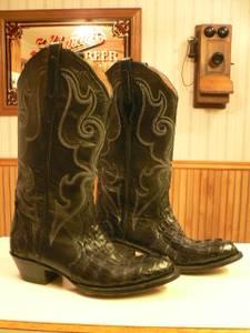 CORRAL, SIZE 6 1/2 M, WOMEN'S, BLACK, ALLIGATOR BOOTS, COWBOY BOOTS (St.