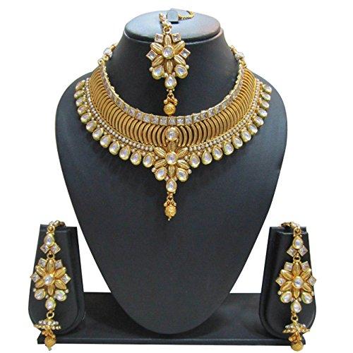 Bollywood Designer Ethinic Indian Premium Bridal Kundan Polki Drop Necklace Set