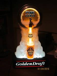 Michelob Pure Cold Golden Draft Bottle and Keg Motion Lighted Sign