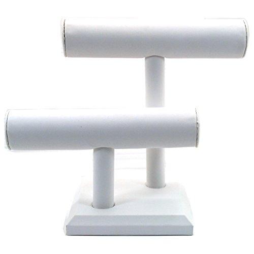2 Tier White Leather T-Bar Bracelet Watch Jewelry Display Stand
