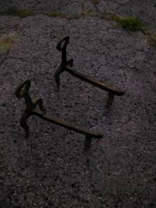 Cast iron Andirons fireplace log holder skeleton key (Nashville Tennessee)