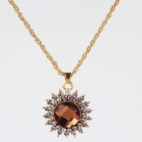Julycoffee18k Gold Plated Champagne Topaz Flower Crystal Necklace Earrings