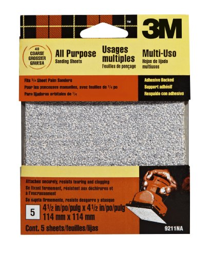3M 9211NA 4.5-Inch x 4.5-Inch Adhesive Backed Palm Sander Sheets, Coarse Grit
