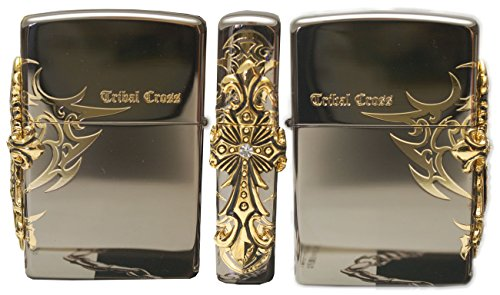 Zippo Lighter Genuine Design Side Tribar Cross Emblem Black Ice