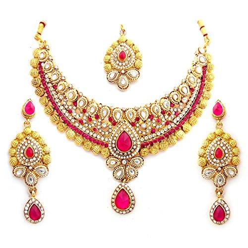 Bollywood Designer Ethinic Indian Premium Stone Polki Kundan Bridal Necklace Set