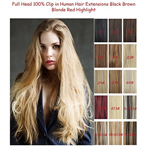 Clip in Remy Extensions 100% Real Human Hair Extension 12/613# honey bleach