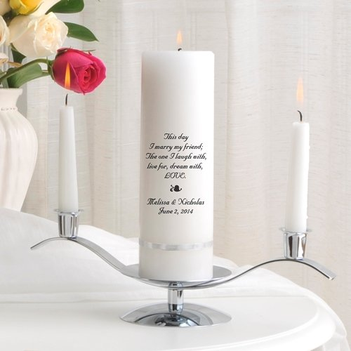 Personalized Unity Wedding Candle w/Stand