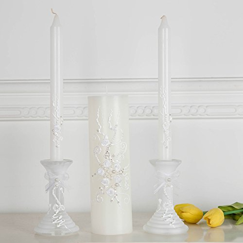 Wedding unity candle set in pearl ivory and white, beautiful unity ceremony set