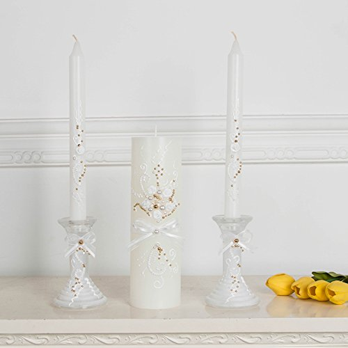 Unity Candle, Unity Wedding Candle Set, gold and white plears decor