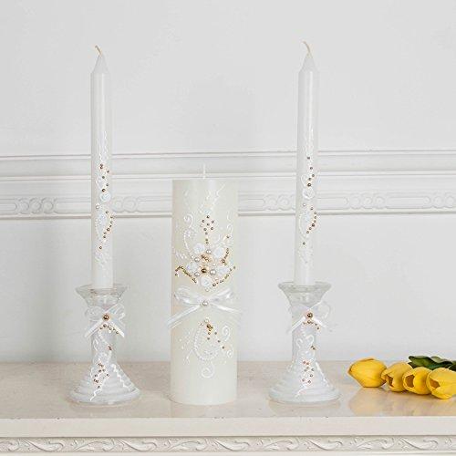 Unity Candle, Unity Wedding Candle Set, gold and white plears decor