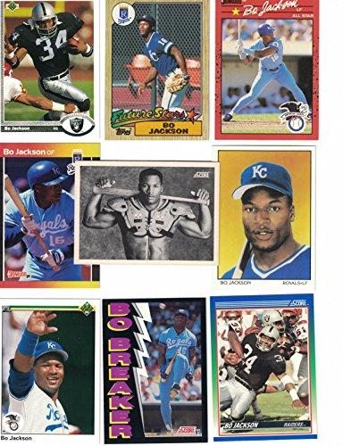 Bo Jackson / 25 Different Baseball & Football Cards featuring Bo Jackson