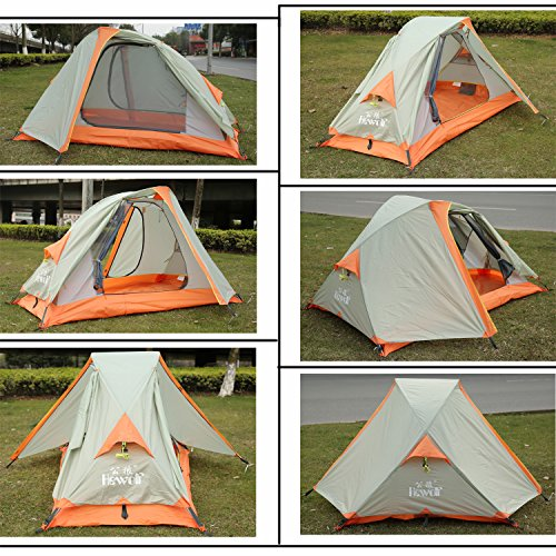 Hewolf Outdoor Waterproof 4 Seasons 1 Man Tent for Trekking Riding Hiking