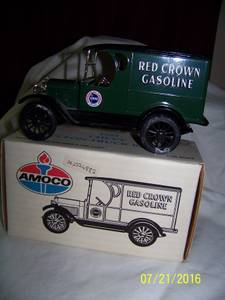 DIE-CAST AMOCO BANK 1923 CHEVY red crown gasoline 1/2 TON TRUCK (TEMPLE)