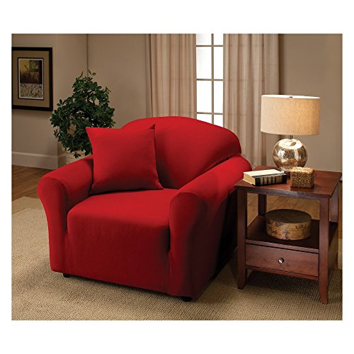 Madison Stretch Jersey Red Chair Slipcover, Solid
