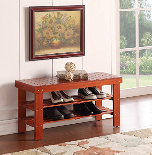 Durable Solid Wood Shoe Storage Bench