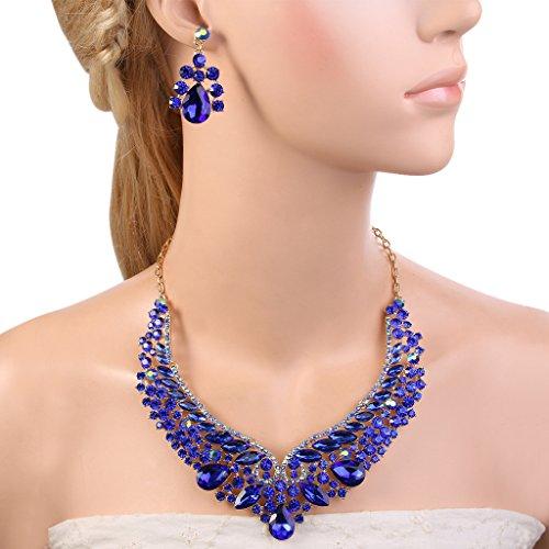EVER FAITHÂ Women's Rhinestone Crystal Leaf Vine V-Shaped Necklace Earrings Set