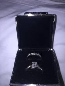 Princess cut diamond engagement ring and wedding ring flawless set (Mirage)