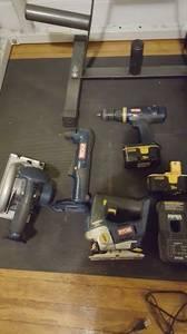 ryobi 18v+ circular saw,drill, jigsaw,angle drill 2 batteries charger (college
