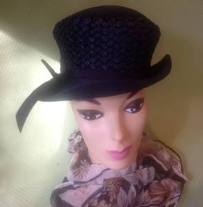Vintage Navy Straw Hat by Laura Deb With Original Belk's Hat Box (Kannapolis)