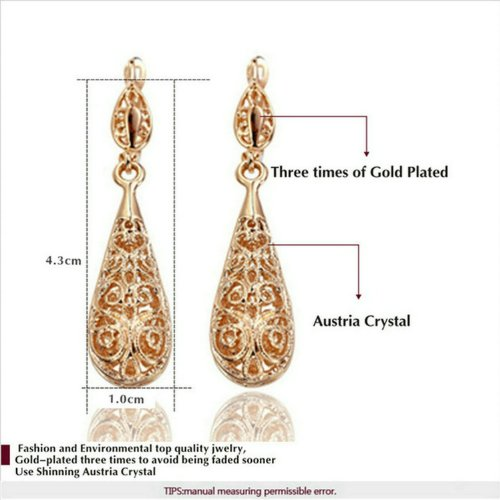 Retro Series] Yoursfs Rose Gold Plated Hollow Out Teardrop Earring and Necklace