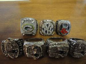 4 New England Super Bowl Rings. (Waltham)